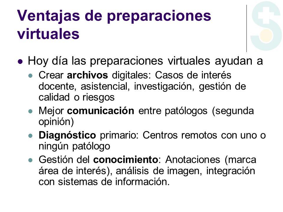 Ventajas de preparaciones virtuales Hoy día las preparaciones virtuales ayudan a Crear archivos digitales: Casos de interés docente, asistencial, inve