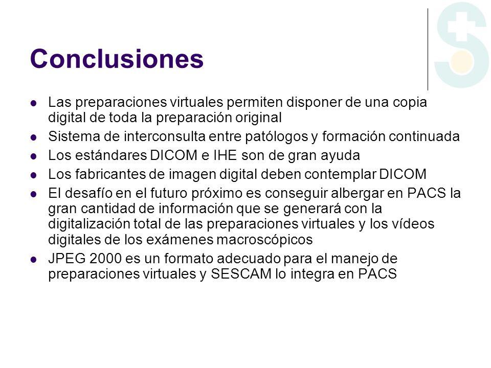 Conclusiones Las preparaciones virtuales permiten disponer de una copia digital de toda la preparación original Sistema de interconsulta entre patólog