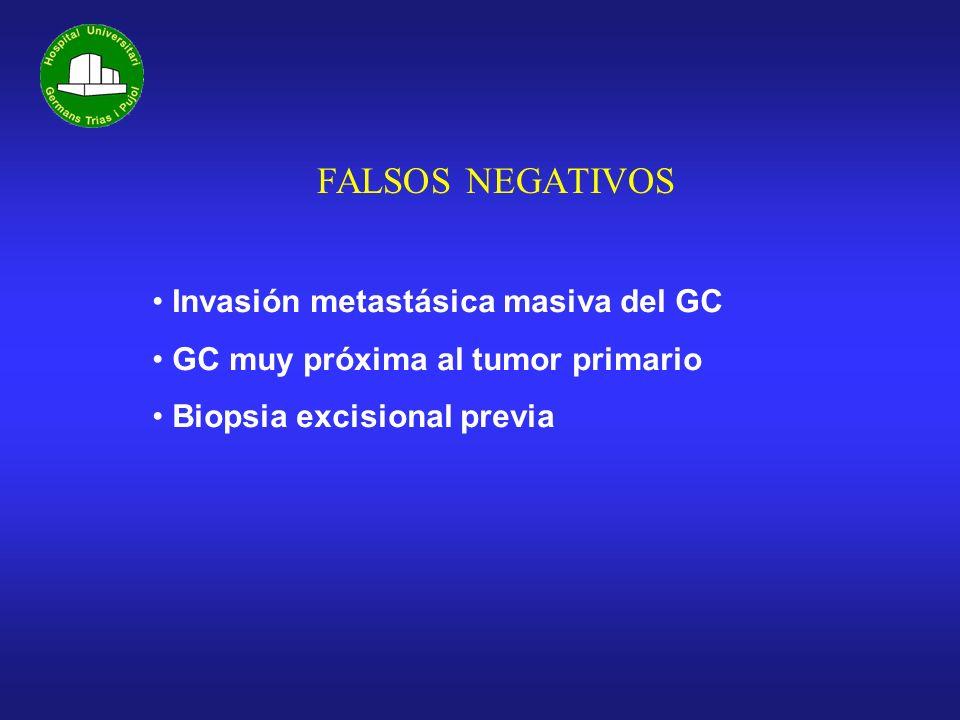FALSOS NEGATIVOS Invasión metastásica masiva del GC GC muy próxima al tumor primario Biopsia excisional previa