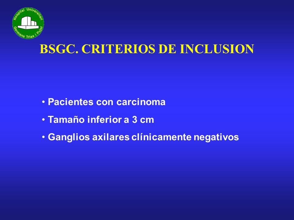 BSGC. CRITERIOS DE INCLUSION Pacientes con carcinoma Tamaño inferior a 3 cm Ganglios axilares clínicamente negativos