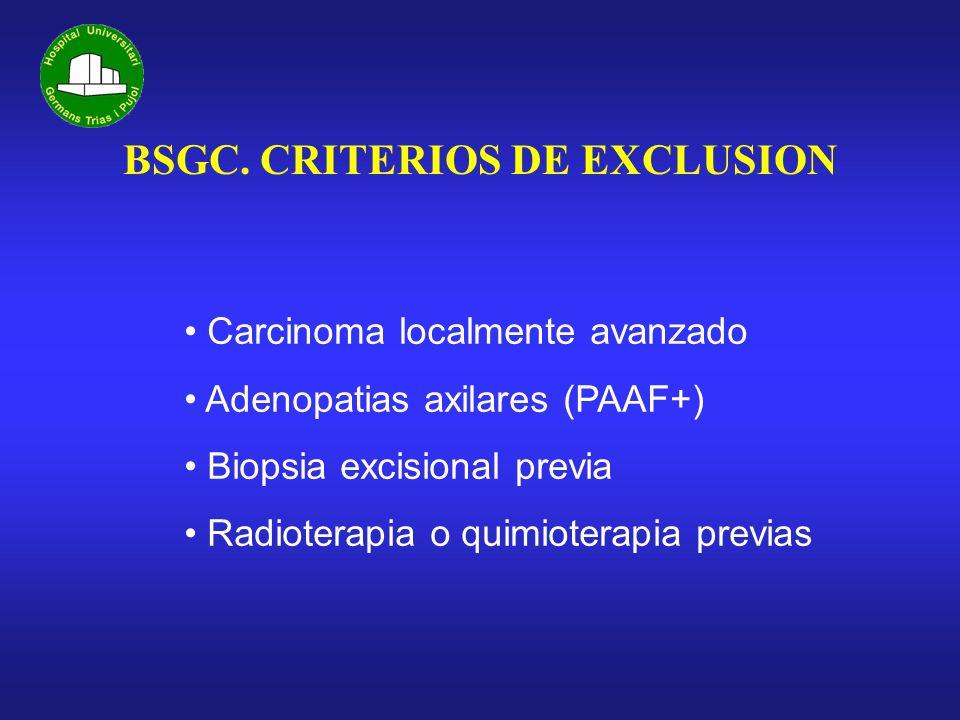 BSGC. CRITERIOS DE EXCLUSION Carcinoma localmente avanzado Adenopatias axilares (PAAF+) Biopsia excisional previa Radioterapia o quimioterapia previas