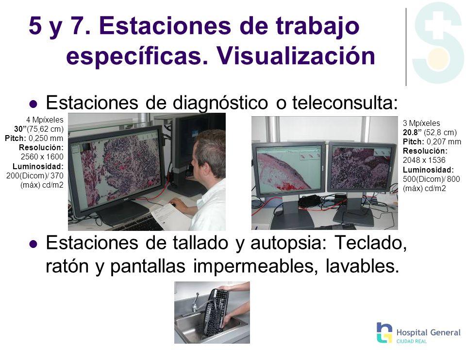 5 y 7. Estaciones de trabajo específicas. Visualización Estaciones de diagnóstico o teleconsulta: Estaciones de tallado y autopsia: Teclado, ratón y p