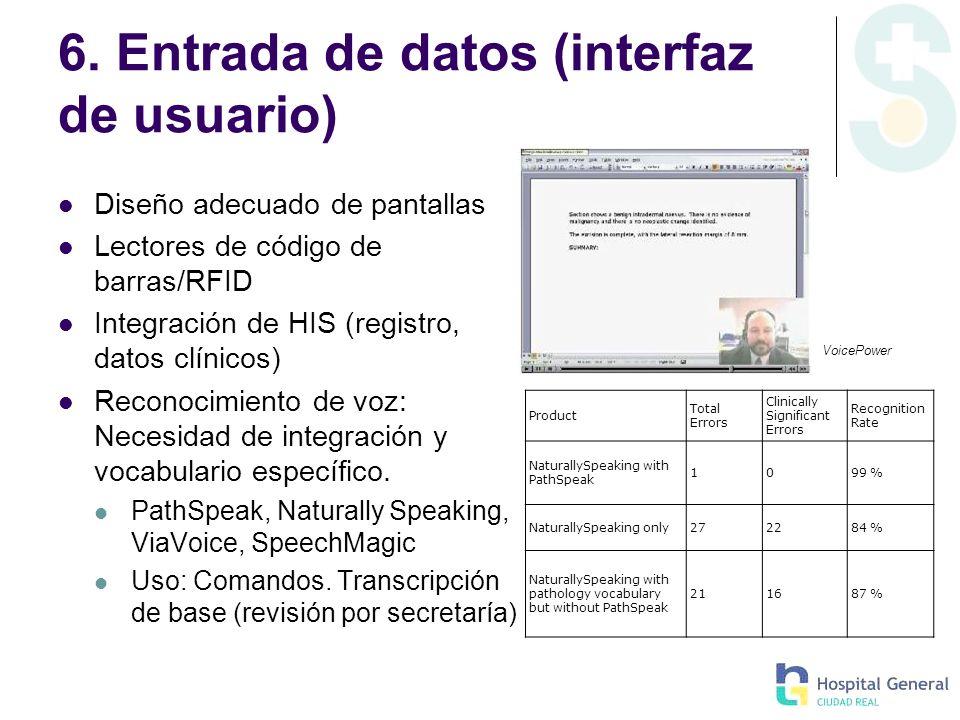 6. Entrada de datos (interfaz de usuario) Diseño adecuado de pantallas Lectores de código de barras/RFID Integración de HIS (registro, datos clínicos)