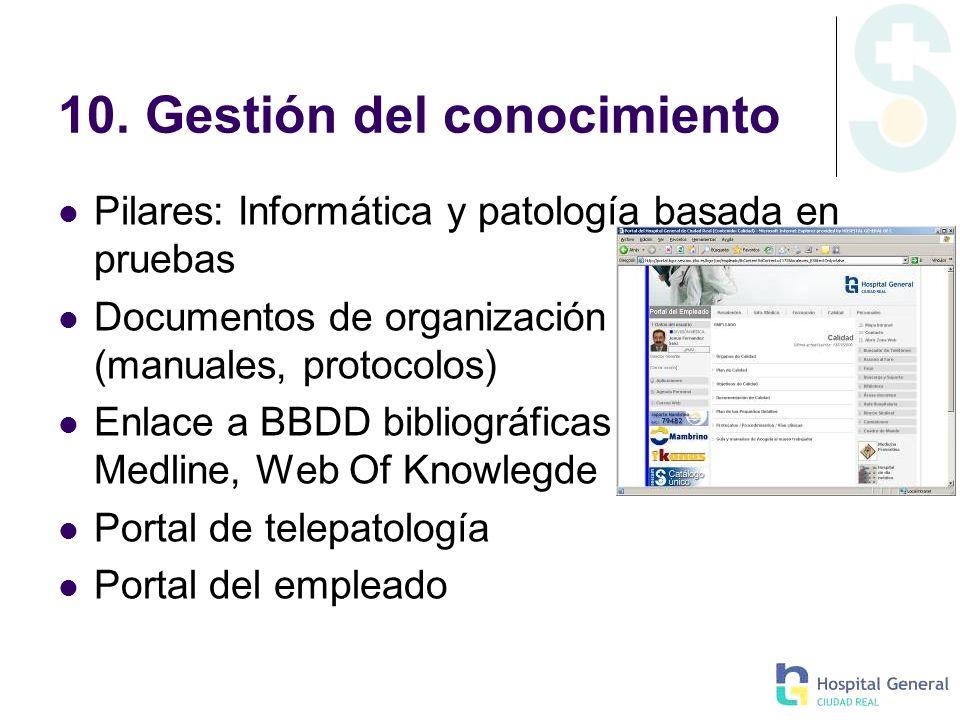 10. Gestión del conocimiento Pilares: Informática y patología basada en pruebas Documentos de organización (manuales, protocolos) Enlace a BBDD biblio