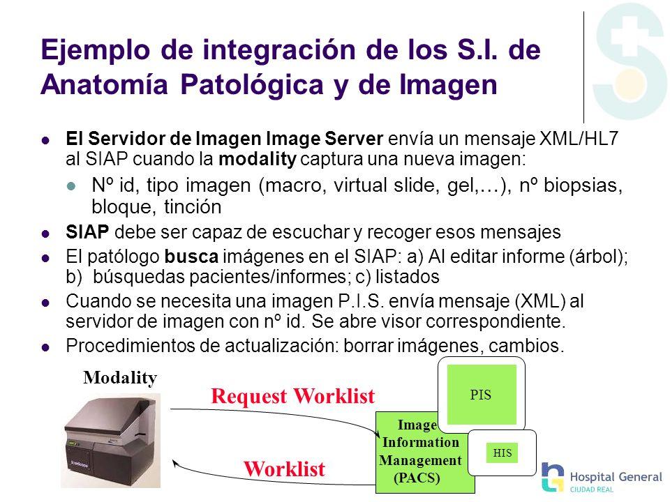 Ejemplo de integración de los S.I. de Anatomía Patológica y de Imagen El Servidor de Imagen Image Server envía un mensaje XML/HL7 al SIAP cuando la mo