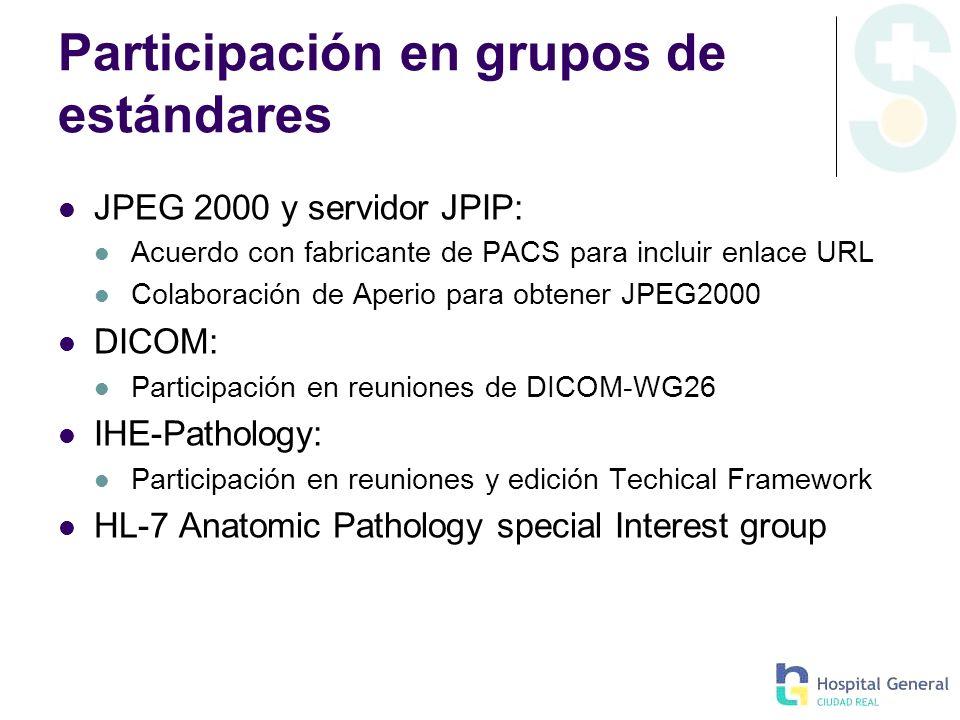 Participación en grupos de estándares JPEG 2000 y servidor JPIP: Acuerdo con fabricante de PACS para incluir enlace URL Colaboración de Aperio para ob