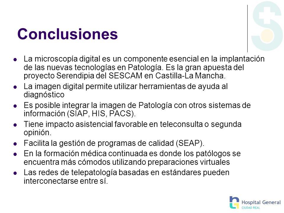 Conclusiones La microscopía digital es un componente esencial en la implantación de las nuevas tecnologías en Patología. Es la gran apuesta del proyec