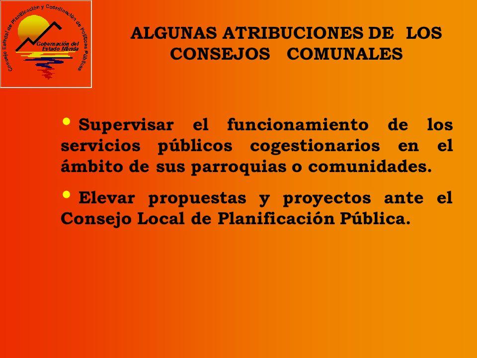 Coordinar la participación de las comunidades para la elaboración y formulación del Plan Municipal de Desarrollo. ALGUNAS ATRIBUCIONES DE LOS CONSEJOS