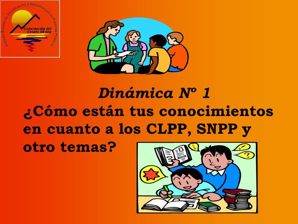 Dinámica Nº 1 ¿Cómo están tus conocimientos en cuanto a los CLPP, SNPP y otro temas?