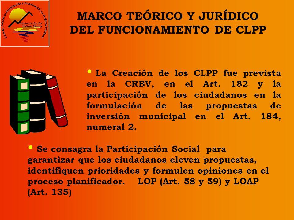 MARCO TEÓRICO Y JURÍDICO DEL FUNCIONAMIENTO DE CLPP La Creación de los CLPP fue prevista en la CRBV, en el Art.