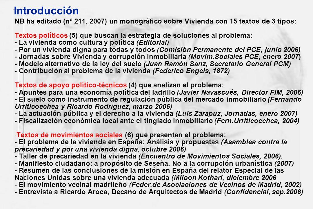 NB ha editado (nº 211, 2007) un monográfico sobre Vivienda con 15 textos de 3 tipos: Textos políticos (5) que buscan la estrategia de soluciones al pr