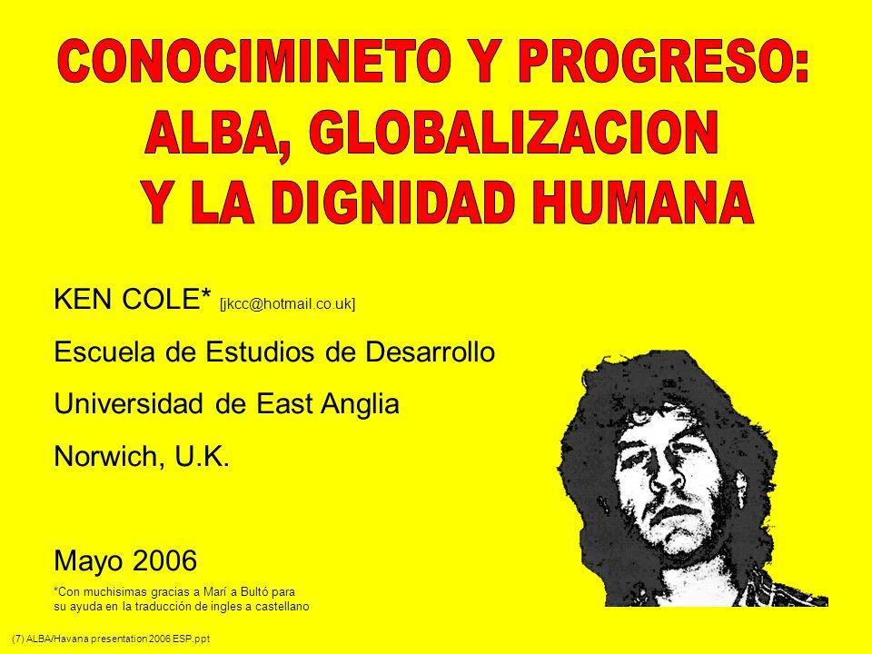 LA PROMESA DE ALBA – La Alternativa Bolivariana para la América 19 ALBA – la Alternativa Bolivariana para la América – es una oraganización institucional se las relaciones inter- americanas, fundado en la complementaridad, solidaridad, co-operación y respeto por la soberania – y no en la competición, dominación, explotación y regla corporativa En América Latina esta emergiendo un espacio democrático basado en la participación se los ciudadanos con el fin se mejorar el bienestar de la gente, con acuerdos dentro de ALBA que son mututamente beneficios (y no explotativos) Dentro de ALBA los latinoamericanos están creando soluciones innovadores para satisfacer las necesidades sociales: petróleo (PETROSUR), información y los medios informativos (TELESUR), educación (Universidad del Sur), crédito internacional (Banco del Sur), un banco de semillas regional y un Escuela Agroecológico organizado por la MST (Brasil), etc… Venezuela y Cuba son el epicentro de ALBA – primero concebida y discutida en la Habana en 1994 (el año de la aparición de TLCAN y el principio de las negociaciones para ALCA) Cada vea más países cooperan a través de ALBA (11 países Caribeños y de Latinoamérica se benefician de PETROSUR); Brasil ha pagado su deuda a FMI y Venezuela ha comprado parte de la deuda de Ecuador y Argentina para que el Banco del Sur asuma el papel de FMI (sin condiciones explotivas); TELESUR (creado por Argentina, Venezuela, Cuba y Uruguay) empezó emitir para Latinoamérica en noviembre 2005; etc…) El desafió revolucionario (de ALBA) es la hegemonía de ideas cultural y intelectual que justifican la globalización del mercados libres, ignorando la solidaridad entre desaventajados de América Latina Una hegemonía que justifica y legitimaza un orden social explotivo, el cual es el modo de producción capitalista Y aquí volvemos a la importancia de las creencias en la apreciación de la gente con respeto al entendimiento de su experiencia social y el papel de la mente creativa en la definici