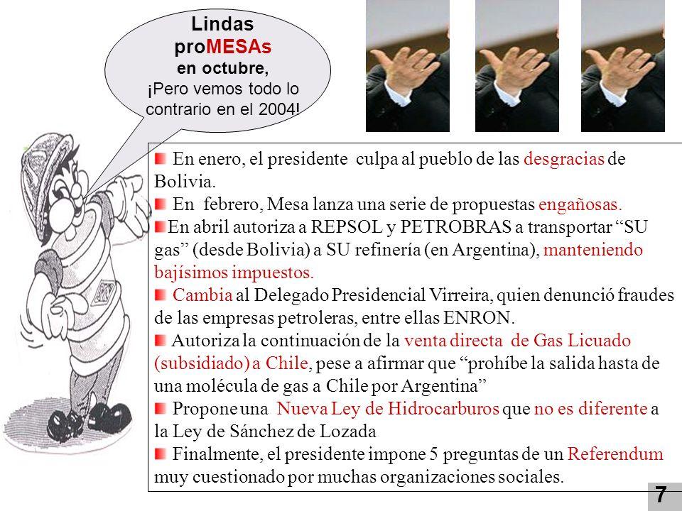 Lindas proMESAs en octubre, ¡Pero vemos todo lo contrario en el 2004! 7 En enero, el presidente culpa al pueblo de las desgracias de Bolivia. En febre