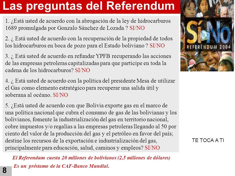 8 Las preguntas del Referendum 1. ¿Está usted de acuerdo con la abrogación de la ley de hidrocarburos 1689 promulgada por Gonzalo Sánchez de Lozada ?