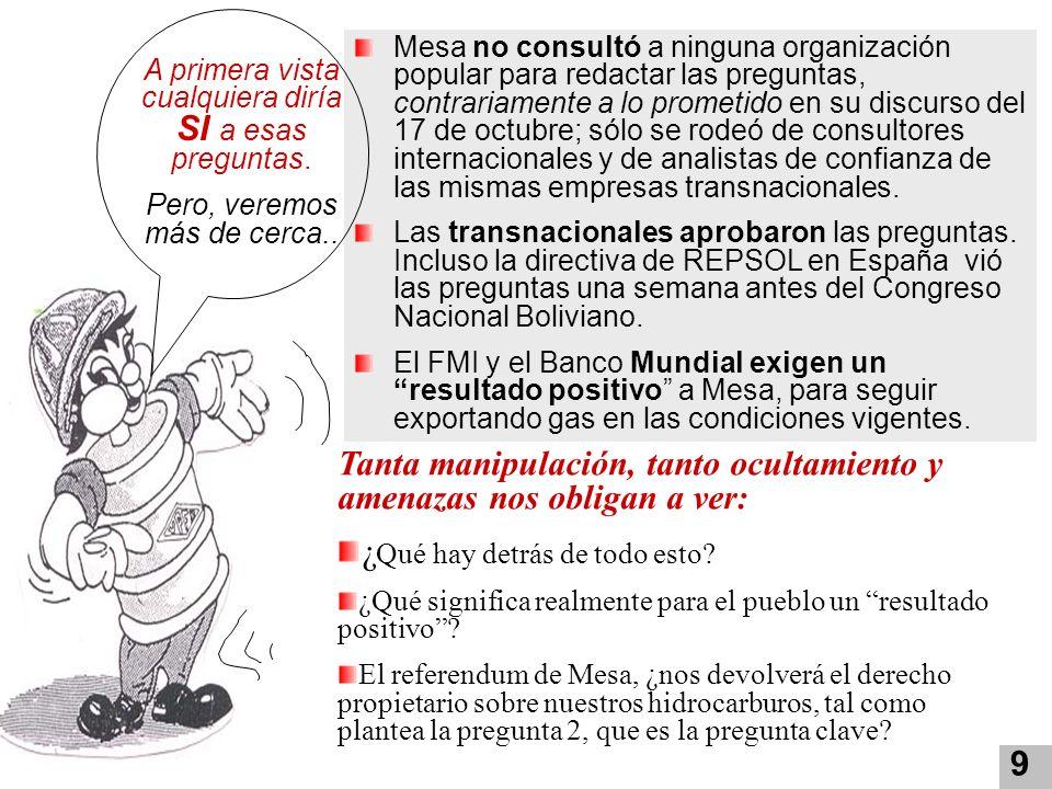 9 Mesa no consultó a ninguna organización popular para redactar las preguntas, contrariamente a lo prometido en su discurso del 17 de octubre; sólo se