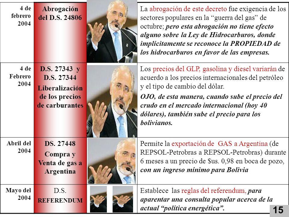 4 de febrero 2004 Abrogación del D.S. 24806 La abrogación de este decreto fue exigencia de los sectores populares en la guerra del gas de octubre; per