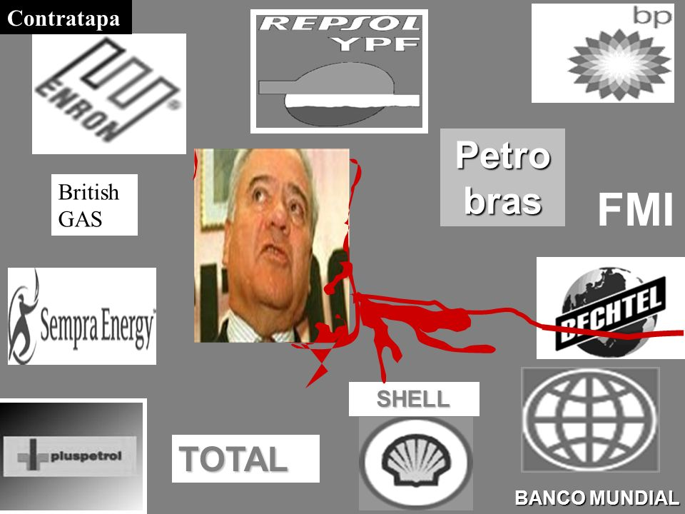 Petro bras BANCO MUNDIAL SHELL TOTAL FMI British GAS Contratapa