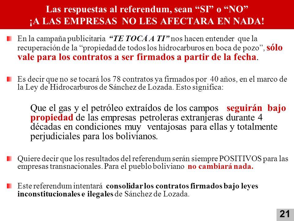 Las respuestas al referendum, sean SI o NO ¡A LAS EMPRESAS NO LES AFECTARA EN NADA!. En la campaña publicitaria TE TOCA A TI nos hacen entender que la