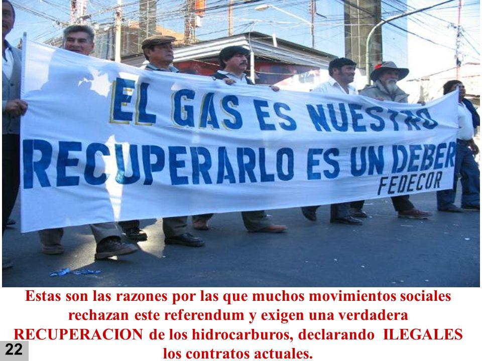 Estas son las razones por las que muchos movimientos sociales rechazan este referendum y exigen una verdadera RECUPERACION de los hidrocarburos, decla