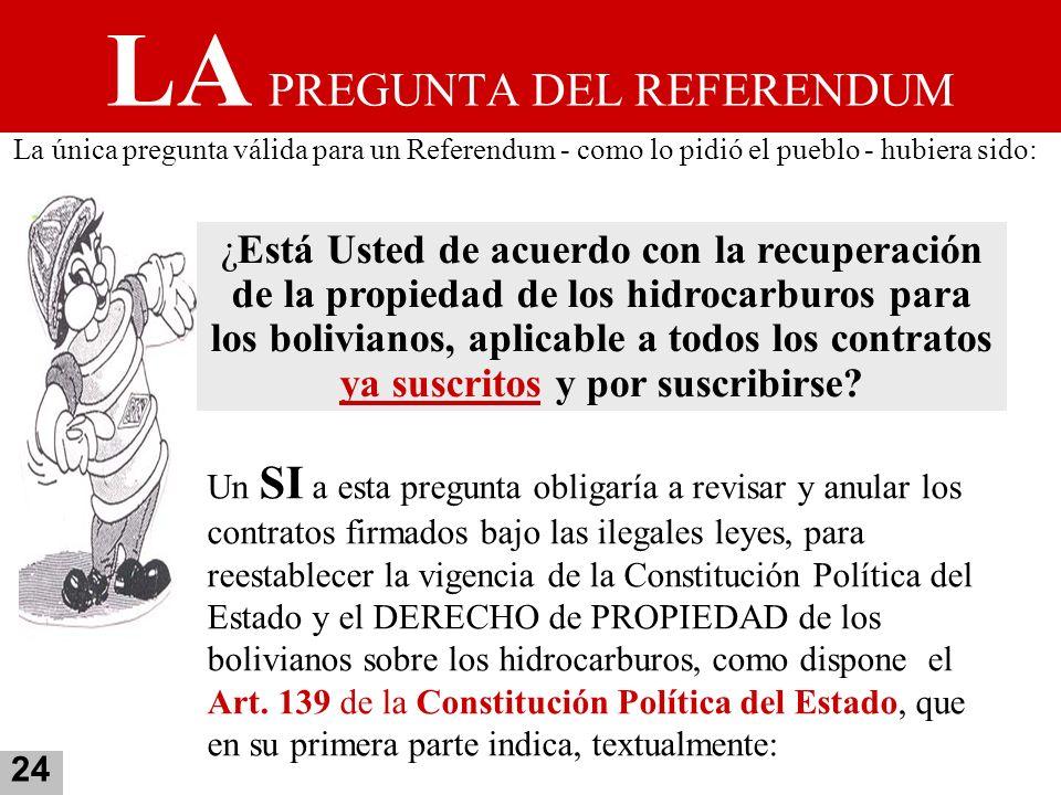 LA PREGUNTA DEL REFERENDUM La única pregunta válida para un Referendum - como lo pidió el pueblo - hubiera sido: ¿Está Usted de acuerdo con la recuper