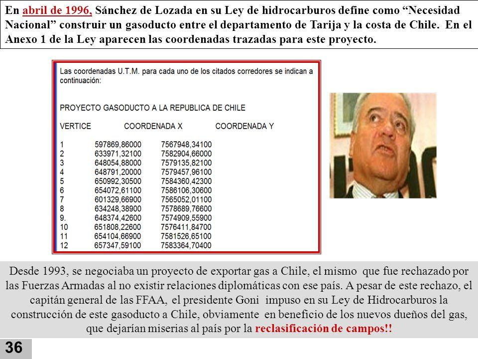 En abril de 1996, Sánchez de Lozada en su Ley de hidrocarburos define como Necesidad Nacional construir un gasoducto entre el departamento de Tarija y