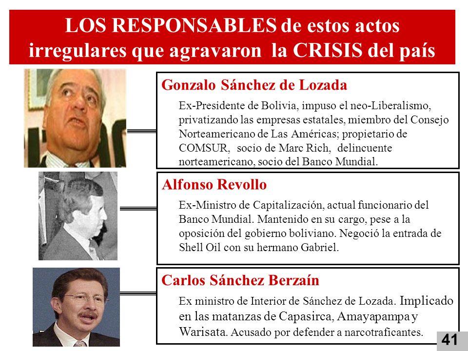 LOS RESPONSABLES de estos actos irregulares que agravaron la CRISIS del país Gonzalo Sánchez de Lozada Ex-Presidente de Bolivia, impuso el neo-Liberal