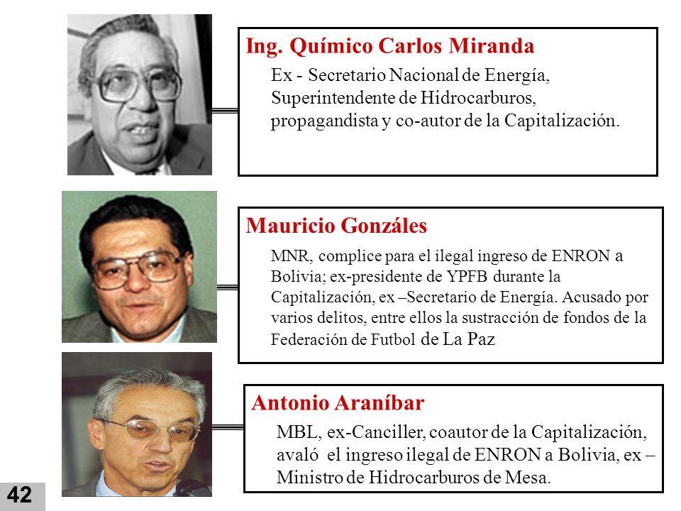 Mauricio Gonzáles MNR, complice para el ilegal ingreso de ENRON a Bolivia; ex-presidente de YPFB durante la Capitalización, ex –Secretario de Energía.