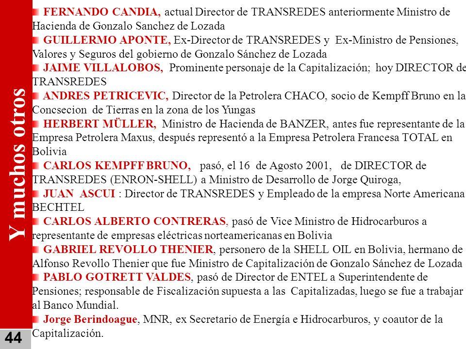 FERNANDO CANDIA, actual Director de TRANSREDES anteriormente Ministro de Hacienda de Gonzalo Sanchez de Lozada GUILLERMO APONTE, Ex-Director de TRANSR