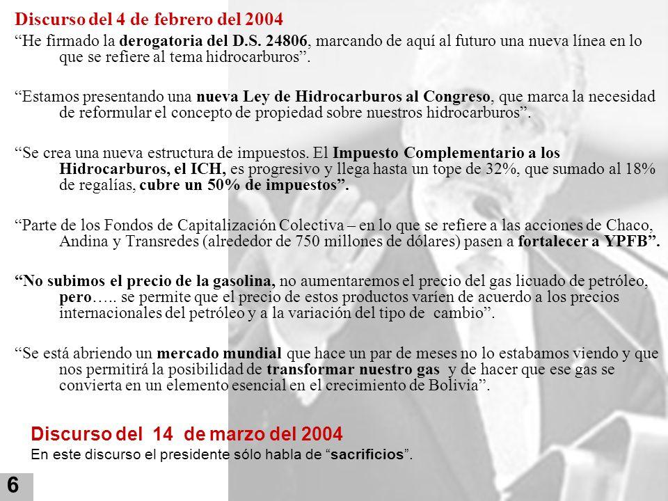Discurso del 4 de febrero del 2004 He firmado la derogatoria del D.S. 24806, marcando de aquí al futuro una nueva línea en lo que se refiere al tema h