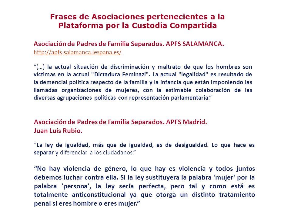 Asociación de Padres de Familia Separados. APFS Madrid. Juan Luís Rubio. La ley de igualdad, más que de igualdad, es de desigualdad. Lo que hace es se