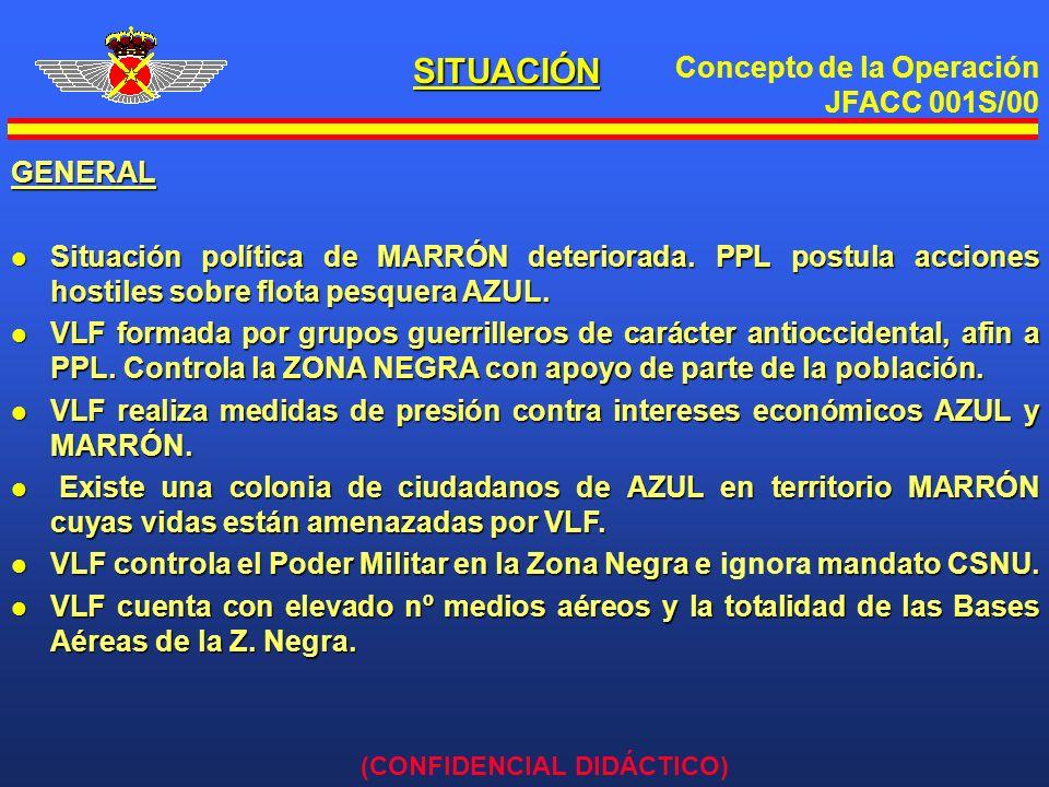 Concepto de la Operación JFACC 001S/00 (CONFIDENCIAL DIDÁCTICO) GENERAL l Situación política de MARRÓN deteriorada. PPL postula acciones hostiles sobr