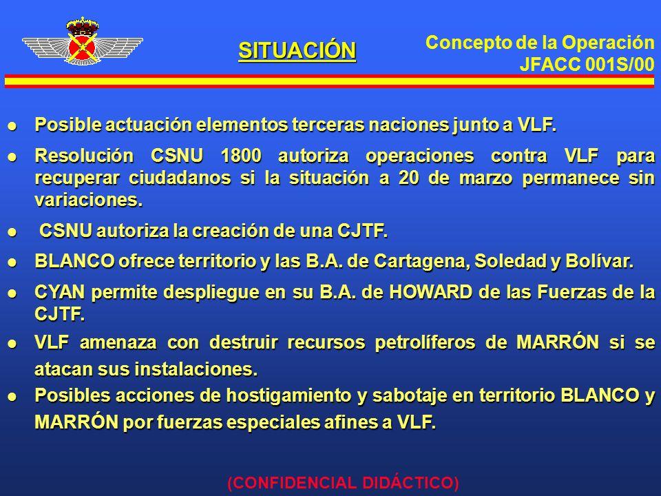 Concepto de la Operación JFACC 001S/00 (CONFIDENCIAL DIDÁCTICO) MISIÓN A PARTIR DE LAS 00:00H DEL DÍA 13 DE ABRIL DE 00 EL JFAAC DEBE LLEVAR A CABO LAS OPERACIONES AÉREAS NECESARIAS QUE PERMITAN ALCANZAR Y MANTENER EL GRADO DE SUPERIORIDAD AÉREA NECESARIA EN EL TEATRO DE OPERACIONES PARA APOYAR LA EVACUACIÓN DE RESIDENTES OCCIDENTALES DE ACUERDO CON LA RESOLUCIÓN 1800 DEL CSNU.