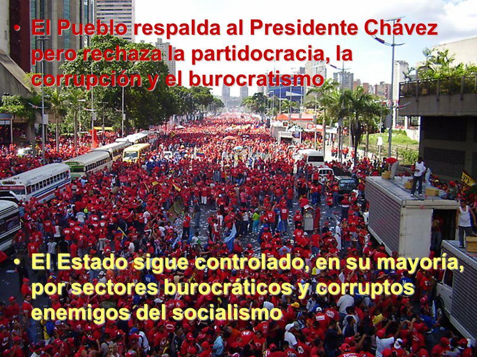 El Pueblo respalda al Presidente Chávez pero rechaza la partidocracia, la corrupción y el burocratismoEl Pueblo respalda al Presidente Chávez pero rechaza la partidocracia, la corrupción y el burocratismo El Estado sigue controlado, en su mayoría, por sectores burocráticos y corruptos enemigos del socialismoEl Estado sigue controlado, en su mayoría, por sectores burocráticos y corruptos enemigos del socialismo