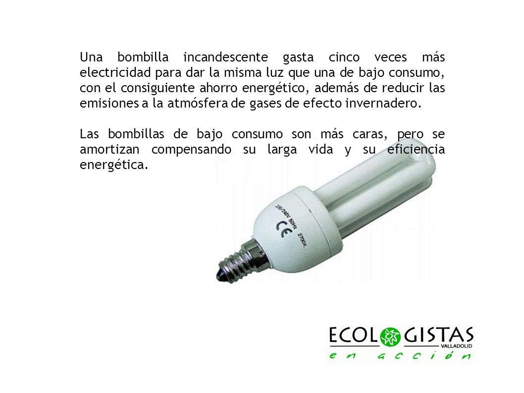 Una bombilla incandescente gasta cinco veces más electricidad para dar la misma luz que una de bajo consumo, con el consiguiente ahorro energético, ad