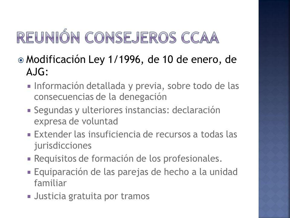 Modificación Ley 1/1996, de 10 de enero, de AJG: Información detallada y previa, sobre todo de las consecuencias de la denegación Segundas y ulteriores instancias: declaración expresa de voluntad Extender las insuficiencia de recursos a todas las jurisdicciones Requisitos de formación de los profesionales.