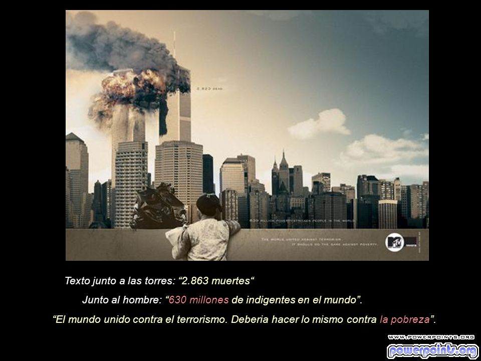 Texto junto a las torres: 2.863 muertes Junto al niño: 824 millones de personas desnutridas en el mundo.