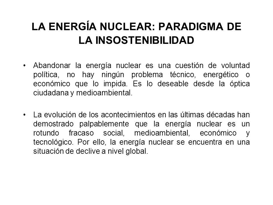 LA ENERGÍA NUCLEAR: PARADIGMA DE LA INSOSTENIBILIDAD Abandonar la energía nuclear es una cuestión de voluntad política, no hay ningún problema técnico, energético o económico que lo impida.