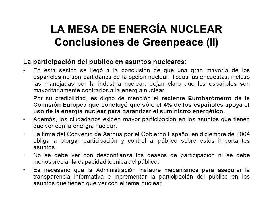 LA MESA DE ENERGÍA NUCLEAR Conclusiones de Greenpeace (II) La participación del publico en asuntos nucleares: En esta sesión se llegó a la conclusión de que una gran mayoría de los españoles no son partidarios de la opción nuclear.