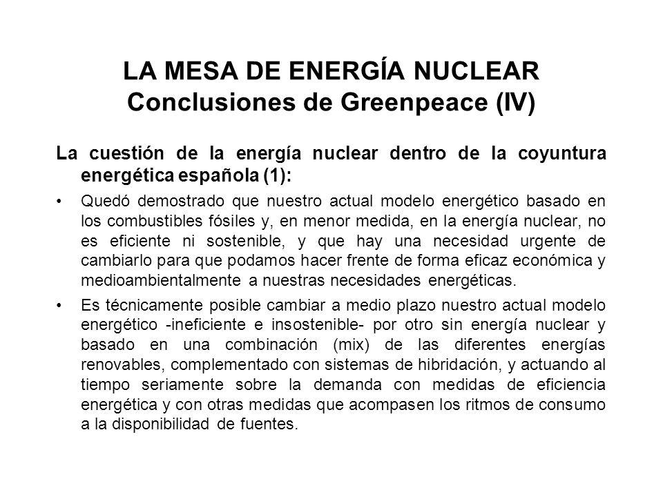 LA MESA DE ENERGÍA NUCLEAR Conclusiones de Greenpeace (IV) La cuestión de la energía nuclear dentro de la coyuntura energética española (1): Quedó demostrado que nuestro actual modelo energético basado en los combustibles fósiles y, en menor medida, en la energía nuclear, no es eficiente ni sostenible, y que hay una necesidad urgente de cambiarlo para que podamos hacer frente de forma eficaz económica y medioambientalmente a nuestras necesidades energéticas.