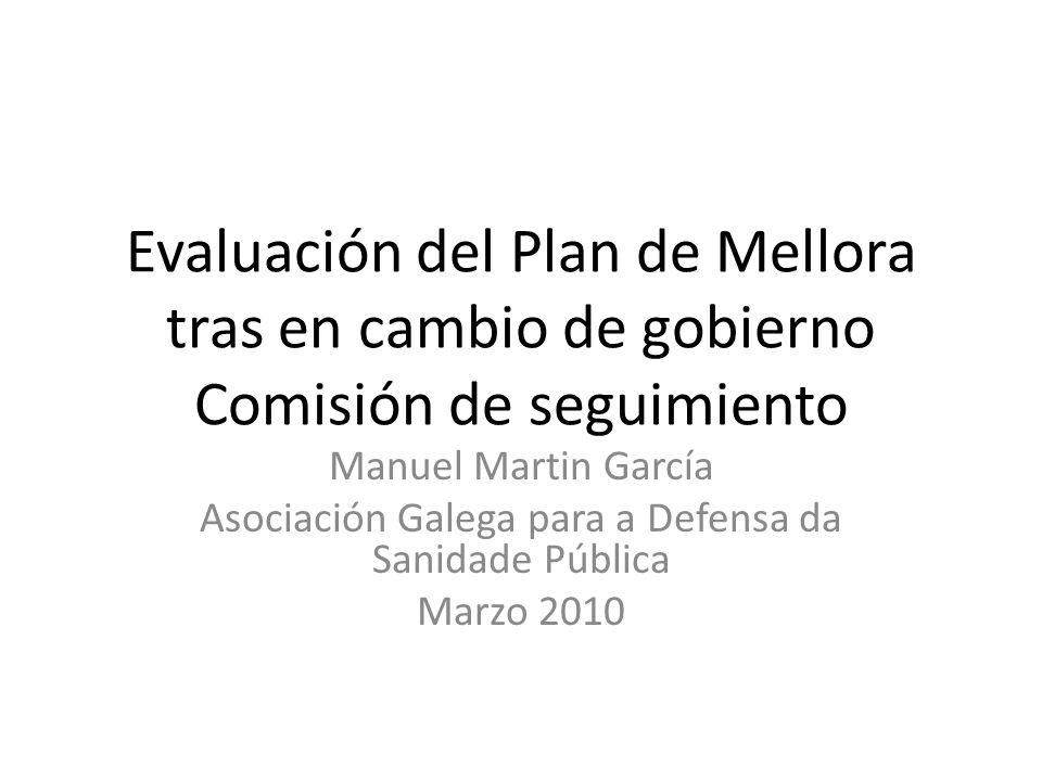 Evaluación del Plan de Mellora tras en cambio de gobierno Comisión de seguimiento Manuel Martin García Asociación Galega para a Defensa da Sanidade Pú