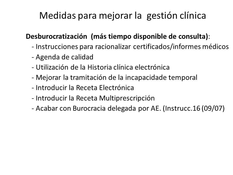 Medidas para mejorar la gestión clínica Desburocratización (más tiempo disponible de consulta): - Instrucciones para racionalizar certificados/informe
