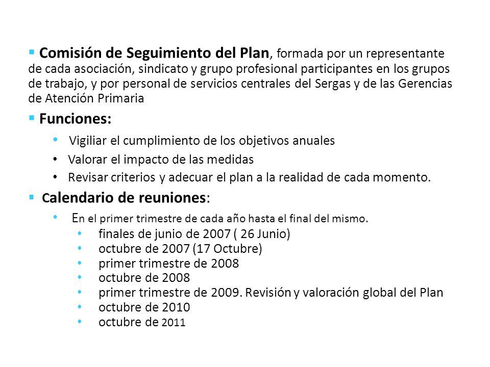 Comisión de Seguimiento del Plan, formada por un representante de cada asociación, sindicato y grupo profesional participantes en los grupos de trabaj