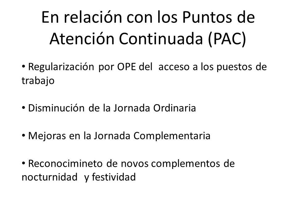 En relación con los Puntos de Atención Continuada (PAC) Regularización por OPE del acceso a los puestos de trabajo Disminución de la Jornada Ordinaria