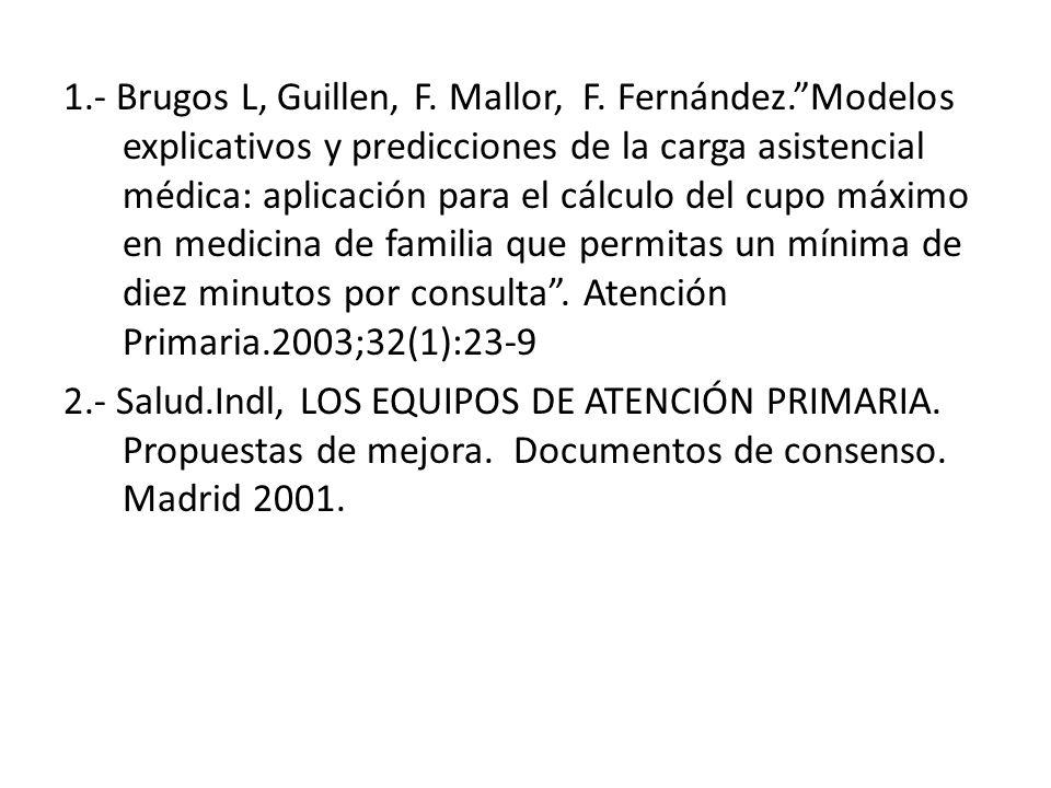 1.- Brugos L, Guillen, F. Mallor, F. Fernández.Modelos explicativos y predicciones de la carga asistencial médica: aplicación para el cálculo del cupo