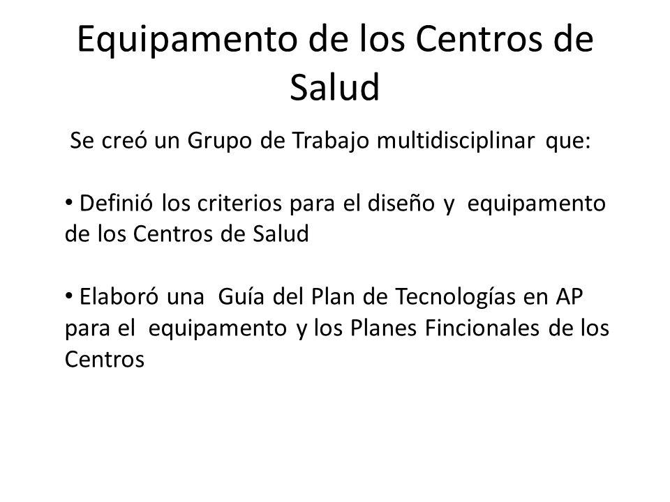 Equipamento de los Centros de Salud Se creó un Grupo de Trabajo multidisciplinar que: Definió los criterios para el diseño y equipamento de los Centro