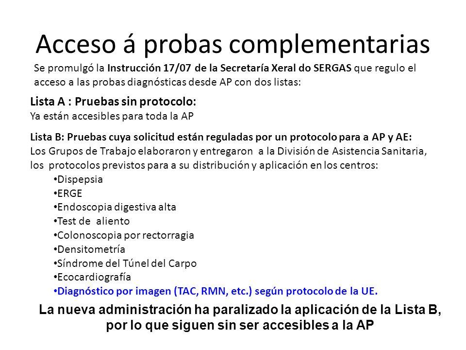 Acceso á probas complementarias Se promulgó la Instrucción 17/07 de la Secretaría Xeral do SERGAS que regulo el acceso a las probas diagnósticas desde