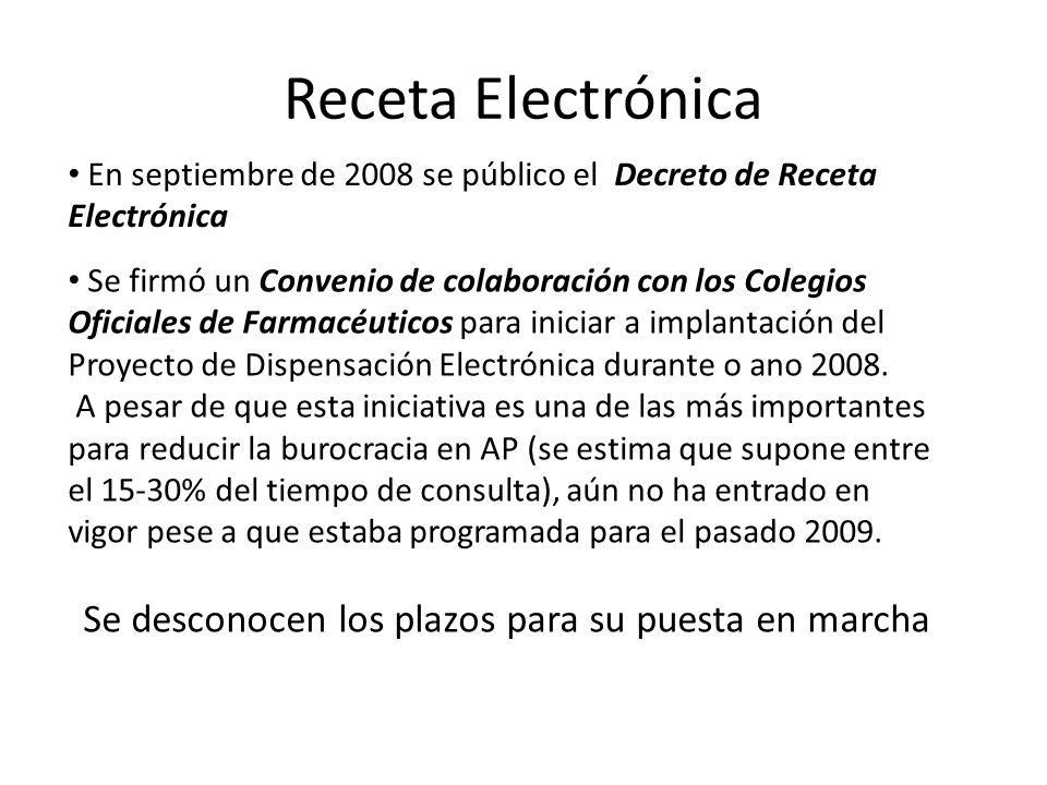 Receta Electrónica Se firmó un Convenio de colaboración con los Colegios Oficiales de Farmacéuticos para iniciar a implantación del Proyecto de Dispen