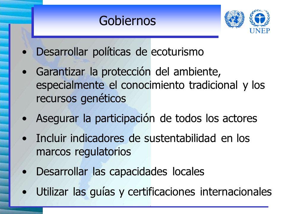 Algunas Recomendaciones de la Cumbre de Quebec Las recomendaciones se dividieron en 4 secciones: Gobiernos Sector privado ONGs y sector academico Agencias intergubernamentales, de fianaciamiento y desarrollo, y Comunidades locales y municipalidades