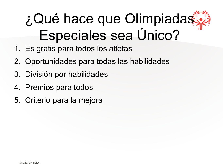 Special Olympics ¿Qué hace que Olimpiadas Especiales sea Único? 1. Es gratis para todos los atletas 2. Oportunidades para todas las habilidades 3. Div