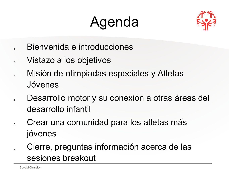 Special Olympics Agenda 1. Bienvenida e introducciones 2. Vistazo a los objetivos 3. Misión de olimpiadas especiales y Atletas Jóvenes 4. Desarrollo m